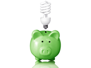 green piggy bank with light bulb