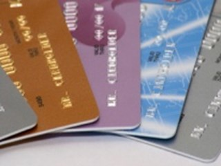 grey gold purple blue bank cards