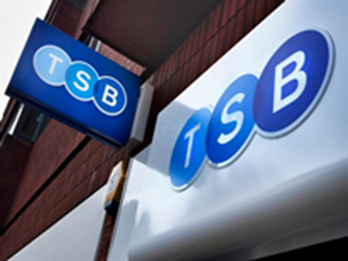 close up of tsb logo outside building