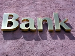 bank sign on purple background