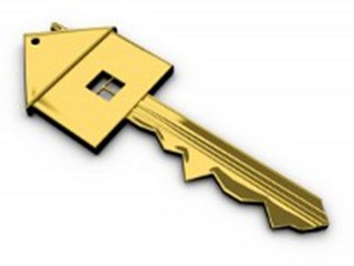 key in shape of a house