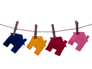 colourful houses on washing line
