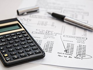 calculator and finance document
