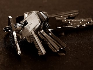 close up of keys on key ring