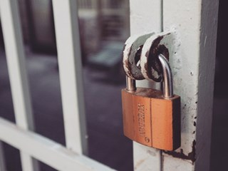 security padlock on door